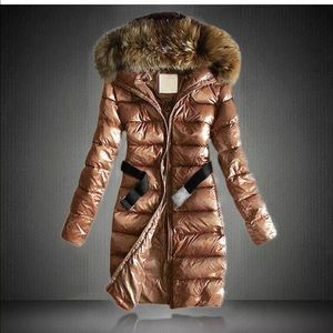 Jackets & Blazers - Womens Long Down Coat Puffer with Faux Fur Collar